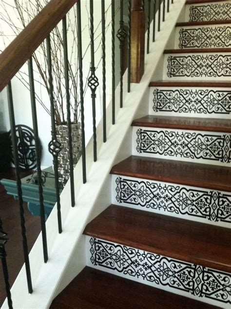 staircase riser vinyl decal scroll pattern removable stair
