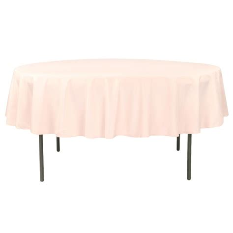 """Economy Polyester Tablecloth 90"""" Round Blush/Rose Gold"""