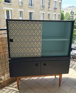 meuble vintage 50 gaspard meuble relooke papier cole With meuble vintage