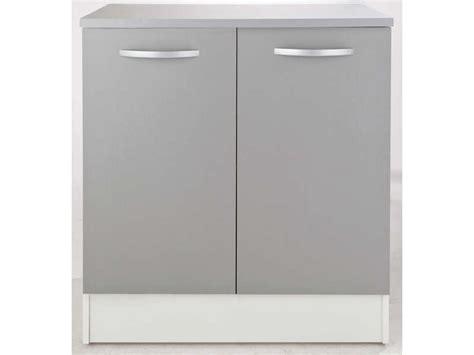 meuble bas 80 cm 2 portes spoon color coloris gris vente de meuble bas conforama