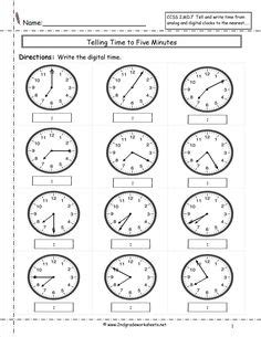 telling time  nearest  minutes worksheet time