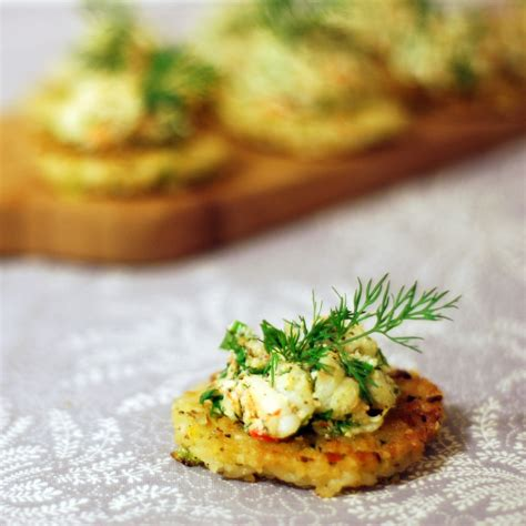 h et h canapé prawns with dill on fragrant rice cakes chew town food