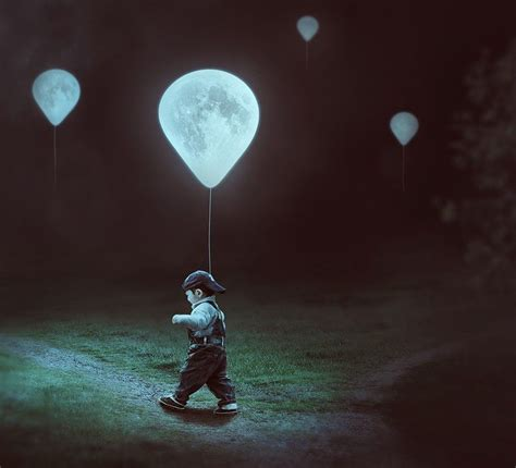 create  surreal moon balloons scene  adobe