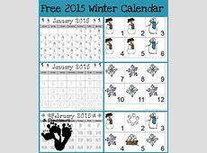 FREE 2015 Winter Themed Calendar pack Free Homeschool