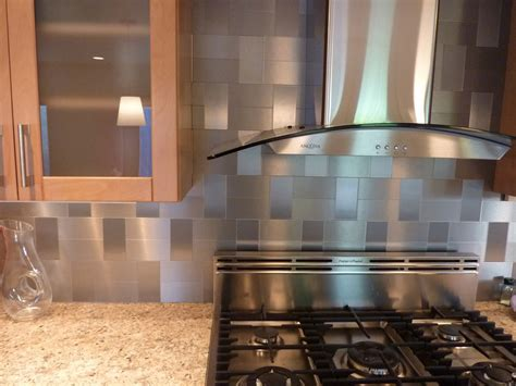 kitchen with stainless steel backsplash stainless steel tile backsplash kitchen decosee com