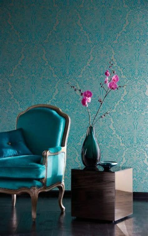 chambre bleu canard 50 photos avec des idées pour poser du papier peint intissé