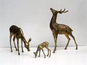 brass deer family woodland deer figurines extra large