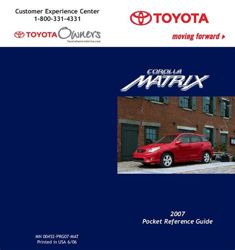 toyota matrix owners manual  give   damn