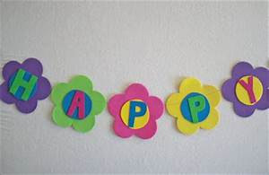 obsessively stitching flower party decor dollar store With happy birthday foam letters