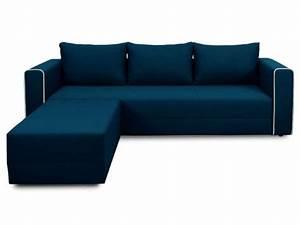 Canapé D Angle Bleu Pétrole : canap d 39 angle convertible 5 places en tissu laura angle coloris bleu vente de canap d 39 angle ~ Teatrodelosmanantiales.com Idées de Décoration