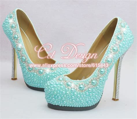 light blue heels for wedding free shipping by dhl custom make rhinestone and light blue