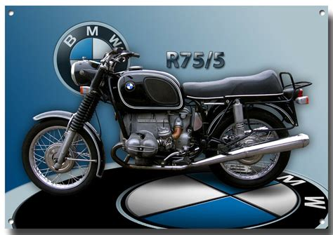 Bmw R75/5 Motorcycle Metal Sign,1970's Classic Bmw