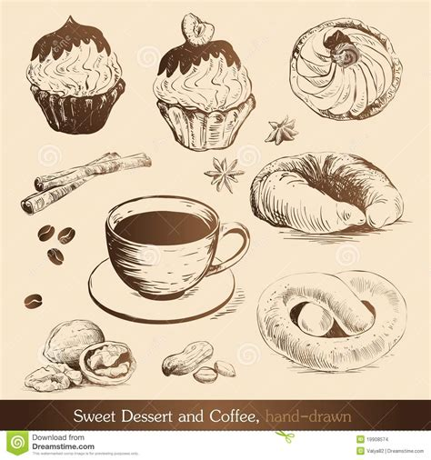 Zoete Dessert En Koffie Stock Afbeeldingen   Afbeelding: 19908574