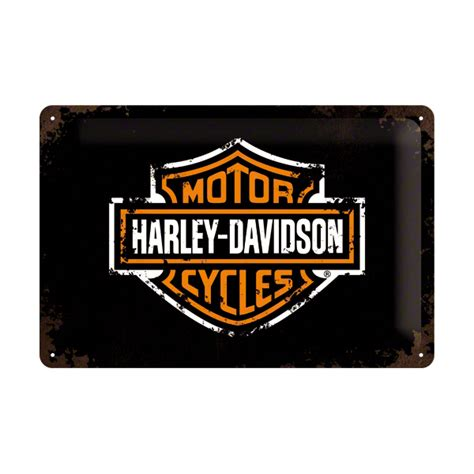 Plaque En Métal 20 X 30 Cm Harleydavidson  Logo De La