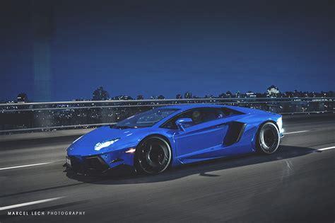 Chrome Blue Lamborghini Aventador On The Road