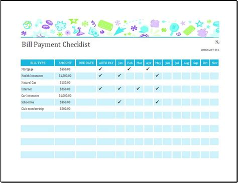 bill payment checklist templates  ms excel word