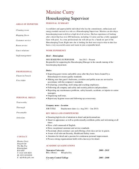 Hotel Housekeeping Experience Resume by Sle Housekeeping Resume 7 Exles In Word Pdf