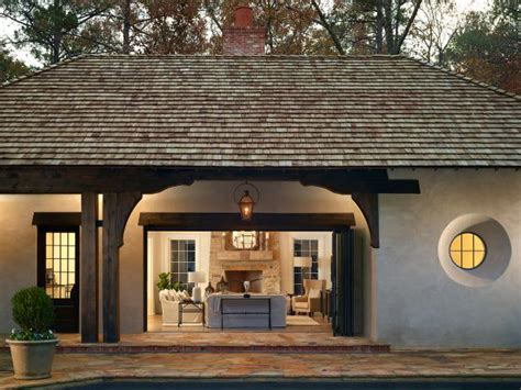 transitional pool house  vaulted ceilings hgtv faces