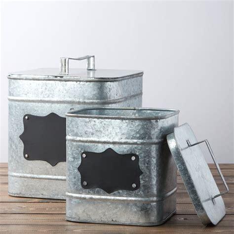 Square Galvanized Canister Set   Kitchen and Bath   Home Decor
