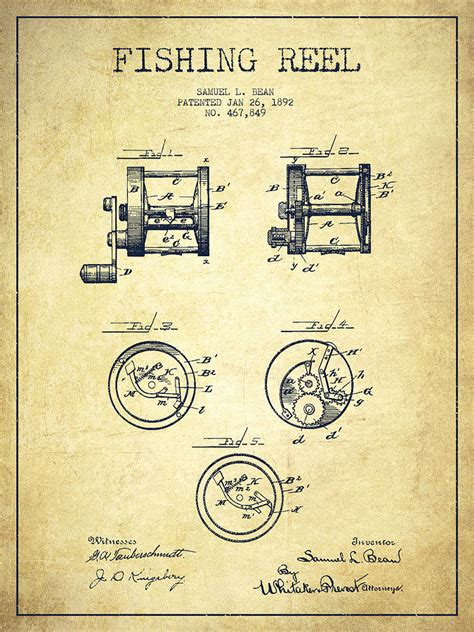 fishing reel patent from 1892 drawing by aged pixel