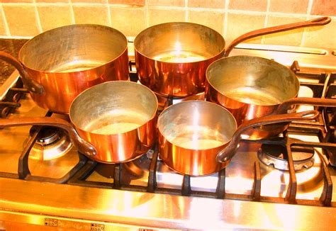 french copper saucepan set   steel handles sold collectable china