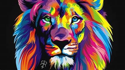 Lion Colorful Animals Wallpapers Desktop Rainbow Backgrounds