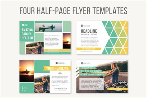 half page flyer template four half page flyer templates templates on creative market