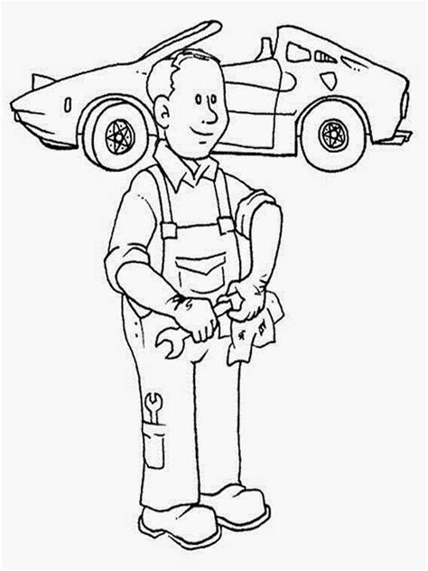 mechanic  jobs printable coloring pages