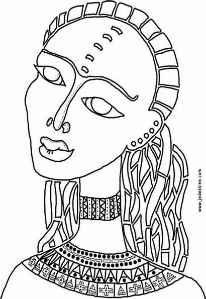 Coloring African Pages Africa Sheets Woman Kid