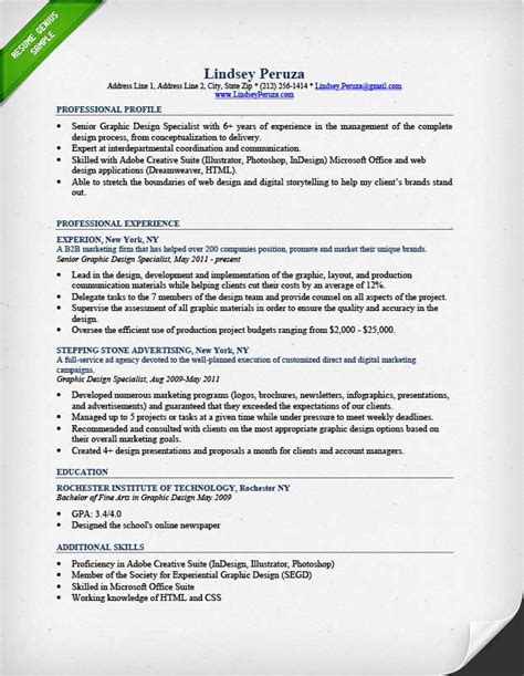 Designers Resumes Exles by Graphic Design Resume Sle Writing Guide Rg