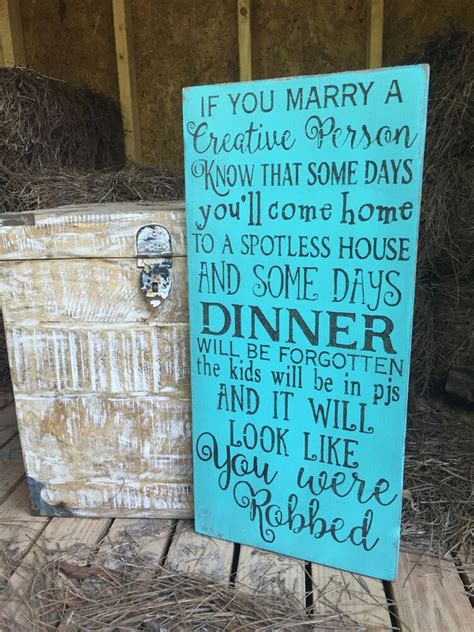 large rustic wood sign   marry  creative person