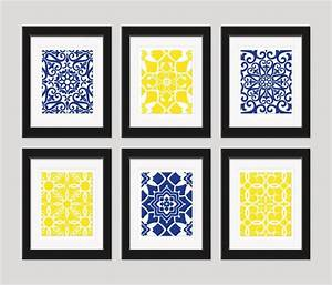Bathroom navy yellow wall art blue home