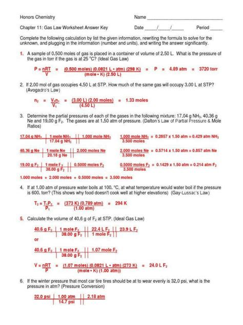 combined gas problems worksheet briefencounters