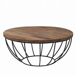 Table Ronde Exterieure : table basse pied metal plateau teck massif recycl 80cm ~ Teatrodelosmanantiales.com Idées de Décoration