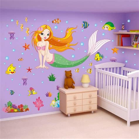 room decor ebay mermaid removable decals wall stickers mural