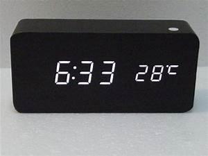 2017 Modern Desk Clock Black Wood Usb Aaa Cube Alarm Wooden Digital White Led Deals24x6 Fashionable Modern Desk Clock