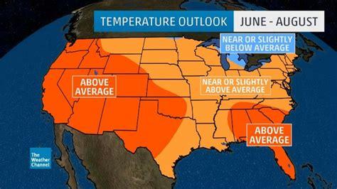 weatherfanatics summer  temperature outlook hotter