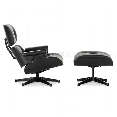 eames style lounge chair and ottoman black leather black