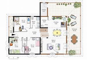 Plan petite maison 2 chambres plan maison moderne 100 m2 for Plan petite maison 2 chambres