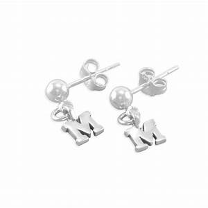 initial earrings little girls post sterling silver With small letter earrings