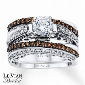 Kay levian chocolate diamonds 1 1 3 ct tw bridal set 14k for Chocolate wedding ring sets