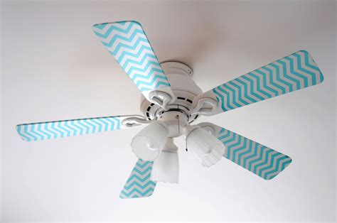 Ceiling Fan Blade Covers Diy blue and pink chevron fancy blade
