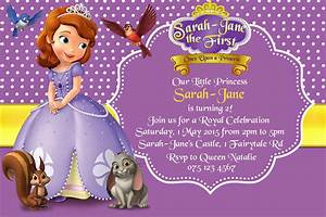 How to create sofia the first birthday invitations designs for Sofia the first free invitation templates
