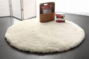 Tapis Shaggy Blanc : tapis shaggy rond blanc 150 cm ugo miliboo ~ Teatrodelosmanantiales.com Idées de Décoration