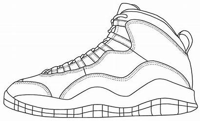 Jordan Air Shoe Drawing Retro Shoes Template
