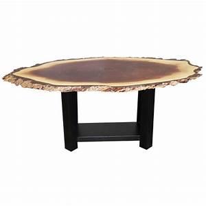 Walnut Live Edge Oval Coffee Table Amish Live Edge