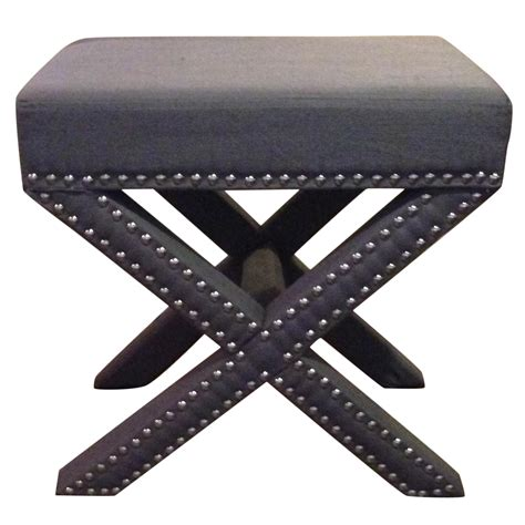 small dining sets for 2 grey x bench with nailhead trim gray ottoman stool chairish