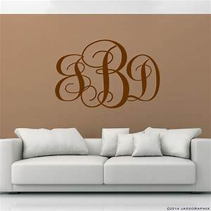 monogram wall decals wall decals ideas awesome With monogram wall decal