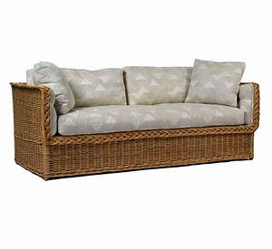 Rattan indoor sofa caliente sectional wicker furniture for Wicker futon sofa bed