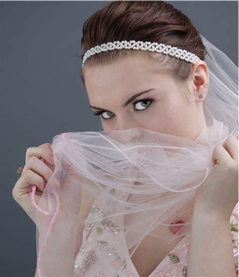 young wedding updo  veil  pearl headbandpng  res